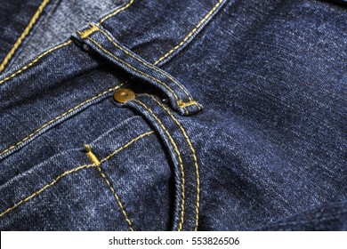Dark blue jeans close up