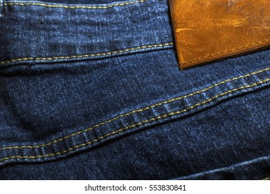 dark blue jeans close up