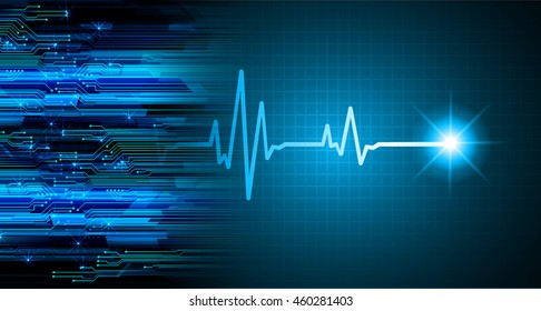 Dark blue Light Abstract Technology background for computer graphic website internet business. circuit. illustration. infographics. motion move blur.neon. wave ekg.
