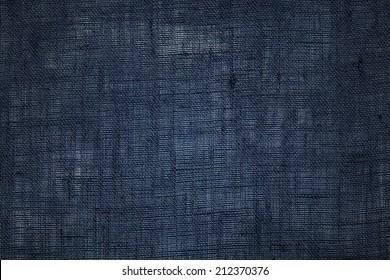 Dark blue linen fabric texture background