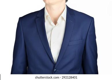 Dark blue mens wedding suit jacket close up, isolated on white background.