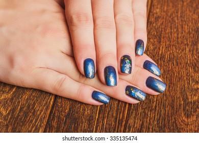 Dark Blue Nail Art Gold Stars Stock Photo Edit Now 335135471
