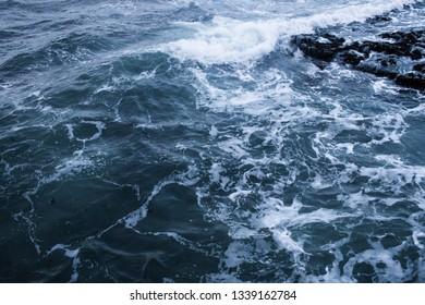 Dark blue nothern ocean waves in winter