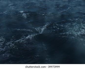 Dark blue ocean tempest