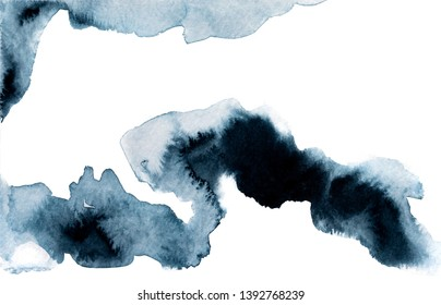 Dark blue painting of watercolor, with copy space