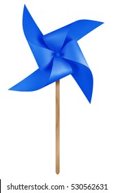 Dark Blue paper windmill pinwheel isolated on white with Clipping Path