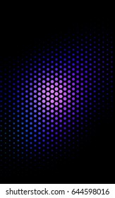Dark BLUE pattern with colored spheres. Geometric sample of repeating circles on white background in halftone style.