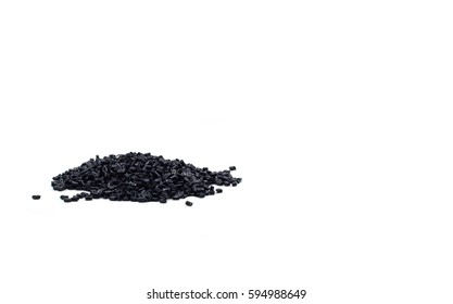 dark blue PET chips, master batch, polymer resin in laboratory, thermal storage master batch,  plastic granulate for injection molding process on white background