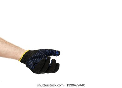Dark blue protective cloth gloves with hand, handyman equipment. Isolated on white background. Copy space