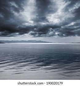 Dark blue rainy marine landscape. Stormy Norwegian Sea