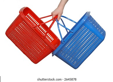 dark blue and red baskets for products in a hand, on a white background