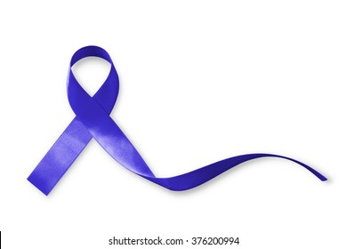 Dark blue ribbon for raising awareness on colorectal/ colon cancer, Acute Respiratory Distress Syndrome (ARDS) (isolated with clipping path)