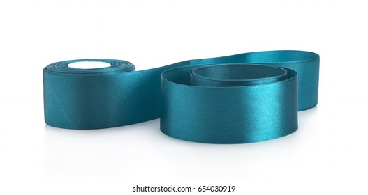 Dark blue satin ribbons and bows on white background for gift wrapping