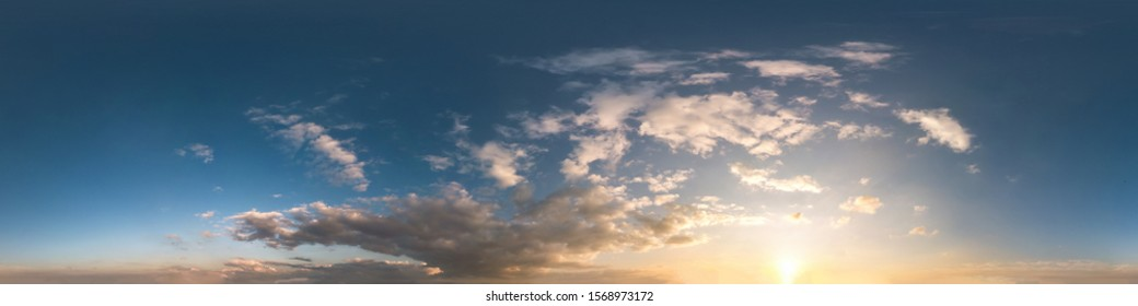 dark blue sky before sunset with beautiful awesome clouds. Seamless hdri panorama 360 degrees angle view with zenith for use in 3d graphics or game development as sky dome or edit drone shot