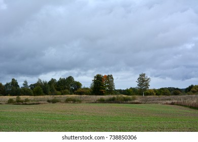 dark blue sky with clouds over the field. A dramatic landscape. Before the hurricane