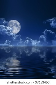 The dark blue sky and the full moon