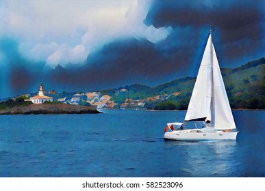 Dark blue sky and sea view with sailing yacht. Summer vacation on sea. Yacht sails in seawater digital illustration. Romantic holiday banner template. White yacht in cruise. Marine scene with boat