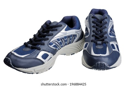 Dark blue sneakers, isolated on a white background.