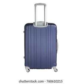 Dark blue suitcase isolated on white background. Polycarbonate suitcase isolated on white. Dark blue suitcase.