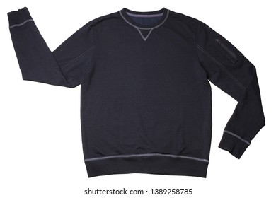 Dark blue sweater isolated on white background