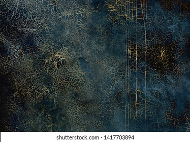 Dark blue texture with gold cracks. Surface with craquelure effect.