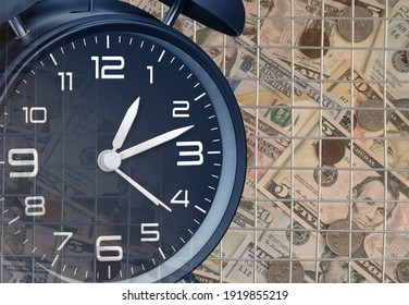 Dark blue transparent alarm clock as a tax reminder symbol. Bars as a symbol of prison for unpaid tax on time or hiding income from the Tax Office.