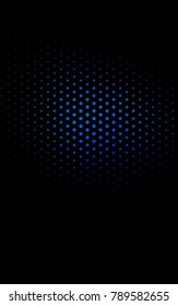 Dark BLUE vertical illustration which consist of circles. Dotted gradient design for your business. Creative geometric background in halftone style with colored spots.