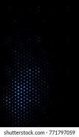 Dark BLUE vertical modern geometrical circle abstract background. Dotted texture template. Geometric pattern in halftone style with gradient.