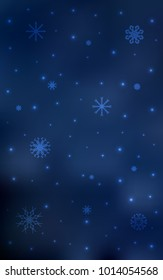 Dark BLUE vertical pattern with christmas snowflakes. Modern geometrical abstract illustration with crystals of ice. The pattern can be used for year new  websites.