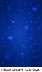 Dark BLUE vertical pattern with christmas snowflakes. Shining colored illustration with snow in christmas style. The pattern can be used for year new  websites.