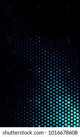 Dark BLUE vertical pattern with colored spheres. Geometric sample of repeating circles on white background in halftone style.