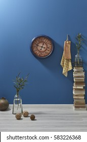 dark blue wall and old book eclectic