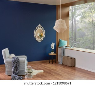 Dark blue wall and room corner style with view decoration. Wooden detail and brown parquet style with lamp.