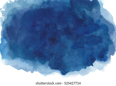 Dark blue watercolor background hand painted on white