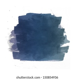 Dark blue watercolor brush strokes isolated against a white background