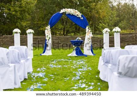 Dark Blue Wedding Arch Decorated White Stock Photo Edit Now