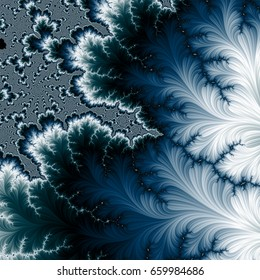 Dark blue and white fractal pattern.  Abstract artwork. Computer generated colorful  fractal. Dark cyan fractal.