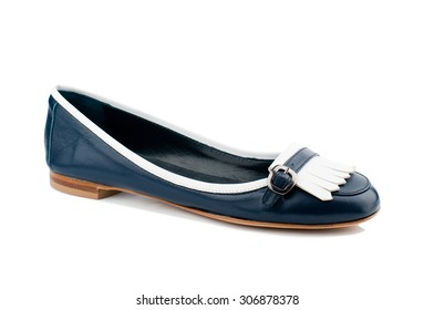 Dark blue women shoe isolated on white background.