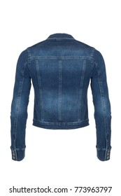 Dark blue women's denim jacket, back view, photographed on ghost mannequin on white background.