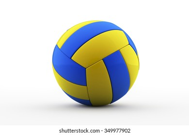 dark blue, yellow Volley-ball ball on a white background / Volleyball  /  3d rendered volleyball