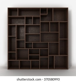 dark bookcase with shelves isolated on white background