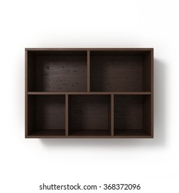 dark bookshelf isolated on white background