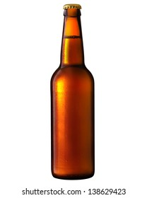 Dark bottle of beer on a white background. Clipping Path