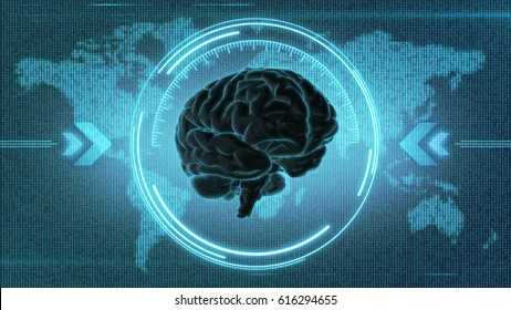 Dark Brain HUD - 3d render of computer display with mind in front of digital Earth