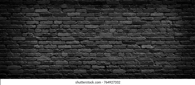 Dark brick wall high resolution panorama. Home and office modern design backdrop