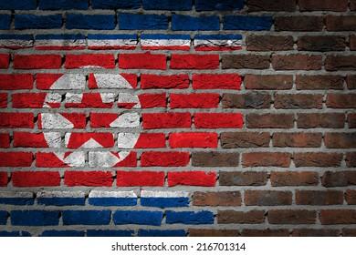 Dark brick wall texture - flag painted on wall - North Korea