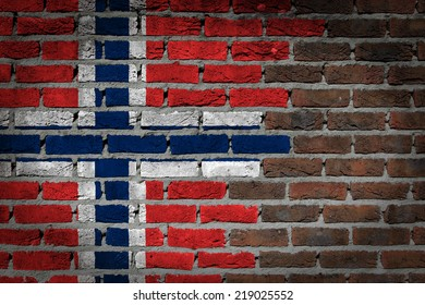 Dark brick wall texture - flag painted on wall - Norway