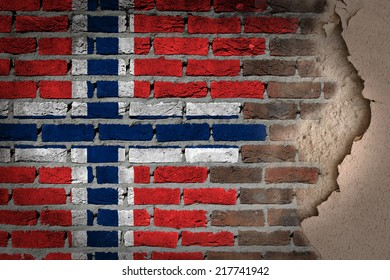 Dark brick wall texture with plaster - flag painted on wall - Norway