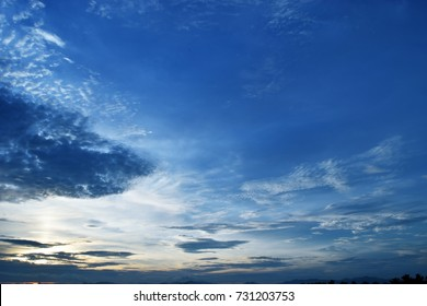 Dark and bright cloud on beautiful blue sky at sunset, Horizon began to turn orange at night , Altocumulus and fluffy cloud formations at tropical zone