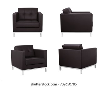 Dark Brown Armchair in two angles on white background